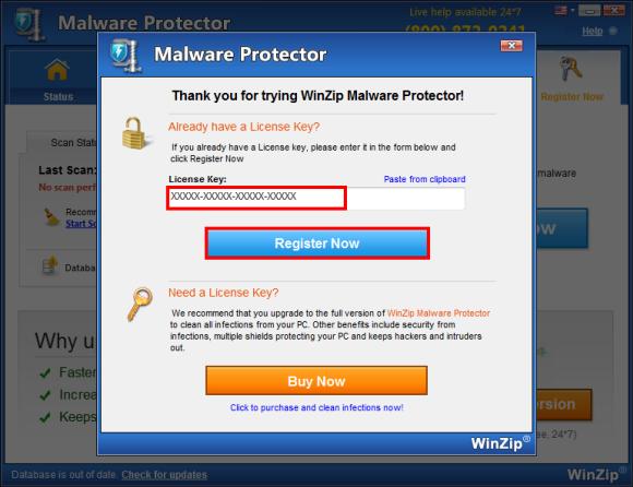 winzip malware protector key